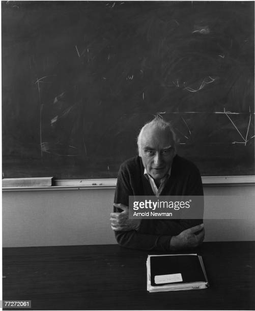 Portrait of British scientist and Nobel prizewinner Dr Francis Crick as he leans on a table in front of a blackboard Florida January 6 1979