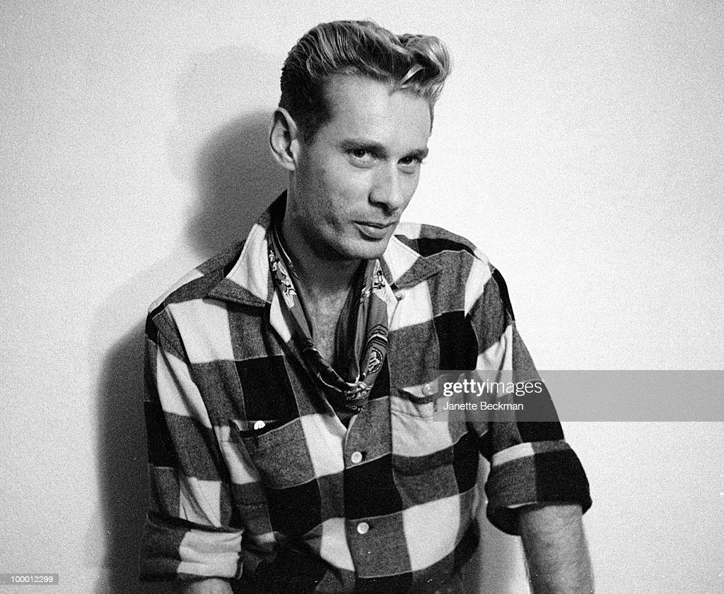 Portrait of British singer (and future DJ) Jay Strongman of the rockabilly revival group El Train, London, England, 1982.