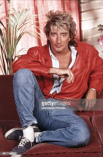 Portrait of British singersongwriter Rod Stewart Italy 1988