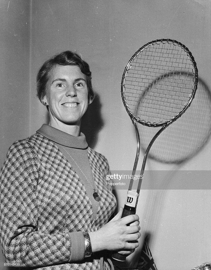 Ann Jones With New Racket