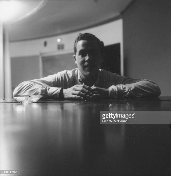 Portrait of Britishborn composer and Fluxus artist Dick Higgins in a classroom at the New School New York New York August 5 1959 At the time Higgins...