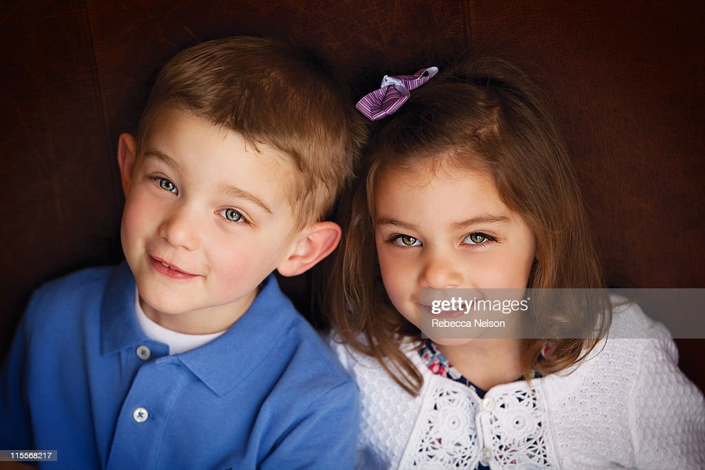 Portrait of brother and sister : Stock Photo
