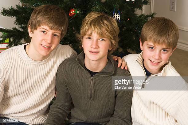 Portrait of brothers at Christmas