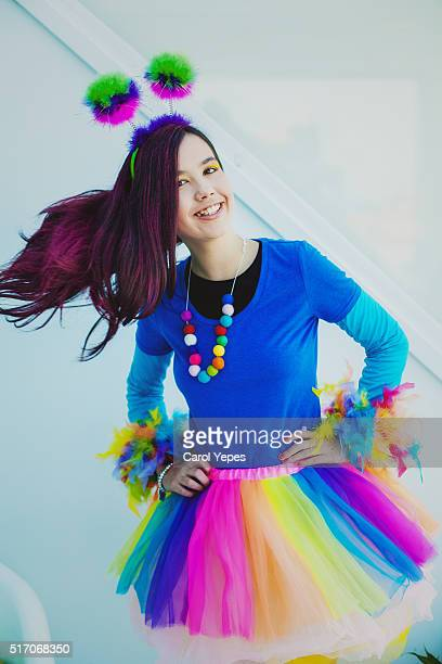 portrait of brunette girl in colorful clothes