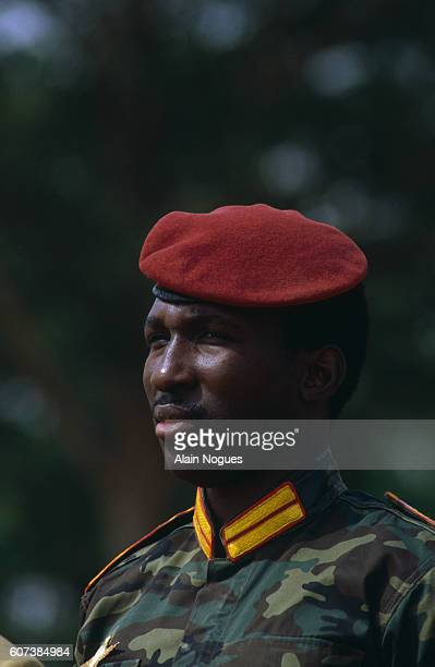 Portrait of Burkina Faso President Thomas Sankara during an official visit of French President Francois Mitterrand