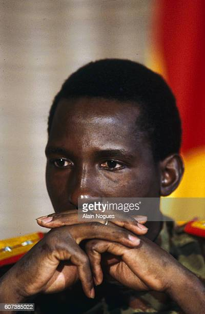 Portrait of Burkina Faso President Thomas Sankara during an official visit of French President Francois Mitterrand to his country