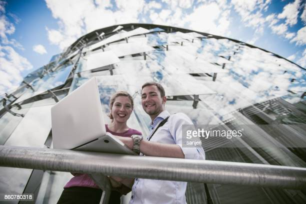 Portrait of Business Couple Meeting Outdoors