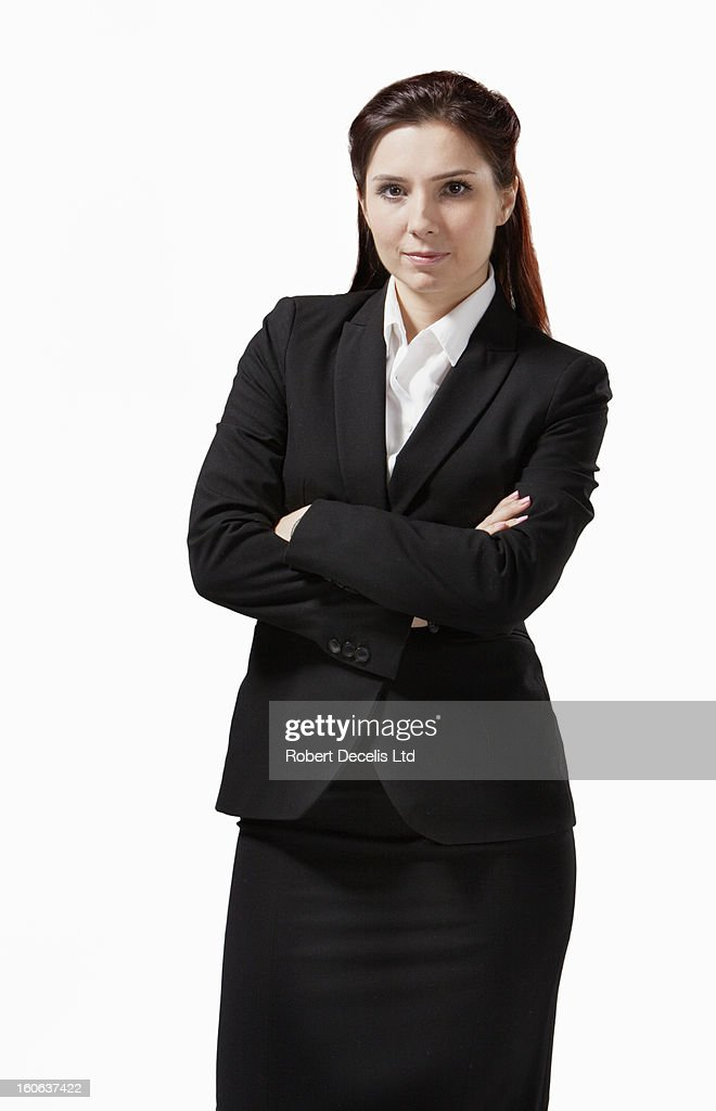Portrait of business woman in black suit : Stock Photo