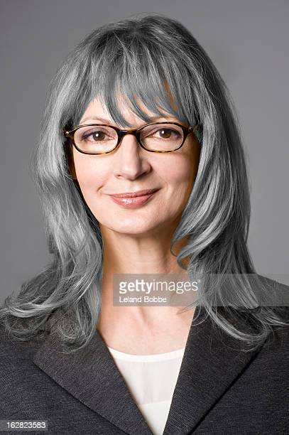 portrait of business woman with grey hair