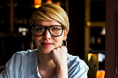 Portrait of business young woman with glasses