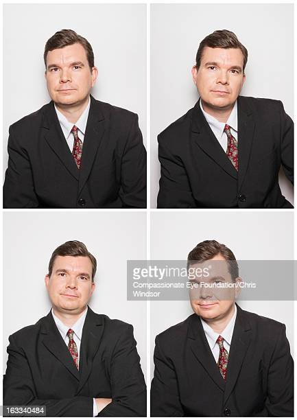 Portrait of businessman in photo booth