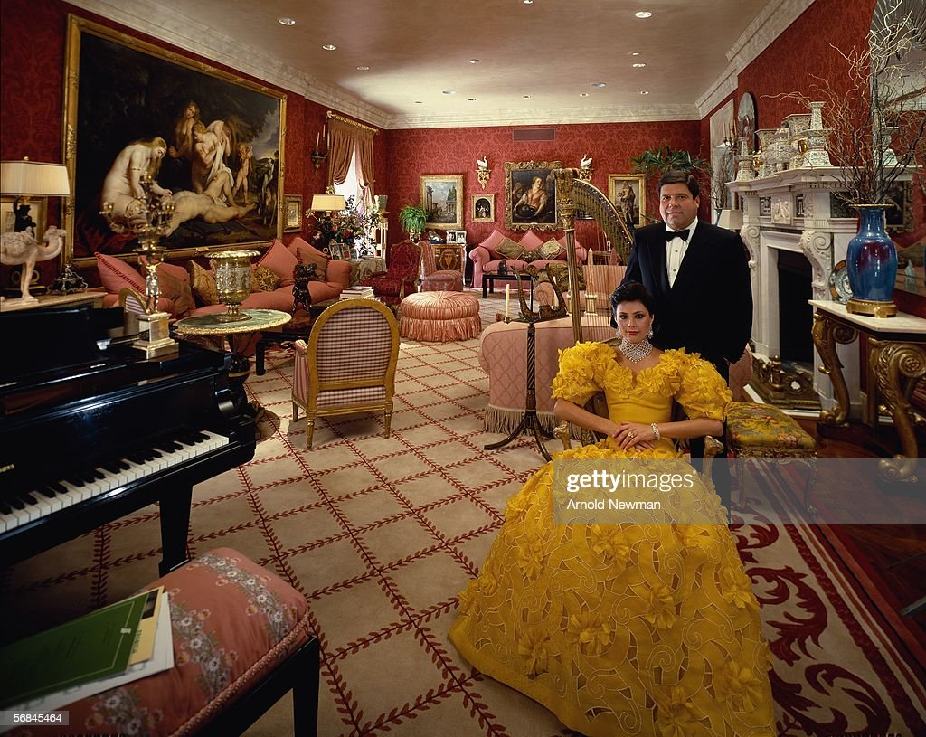 Portrait of businessman Saul Steinberg and his third wife Gayfryd in a sitting room of their 34 room apartment on Park Avenue, New York, June 13, 1985. They sold the apartment in 2000 for a city record of 37 million dollars. The art brought in another 50 million and the furniture over 12 million.