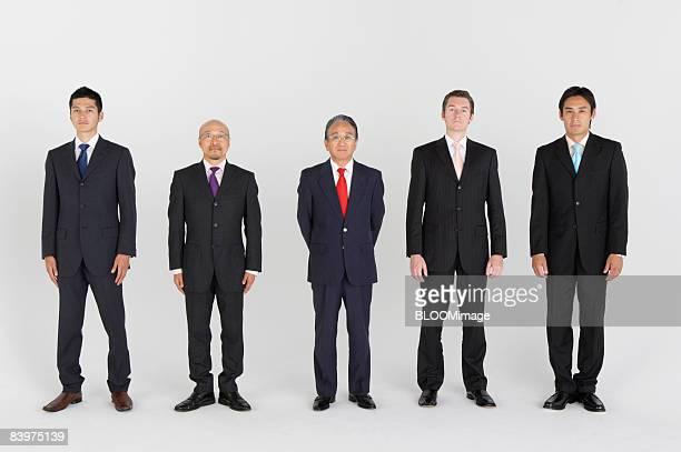 Portrait of businessmen standing in row, studio shot