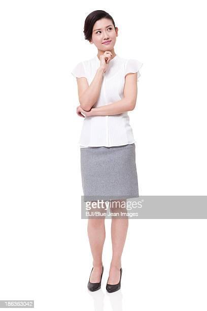 Portrait of businesswoman hand on chin