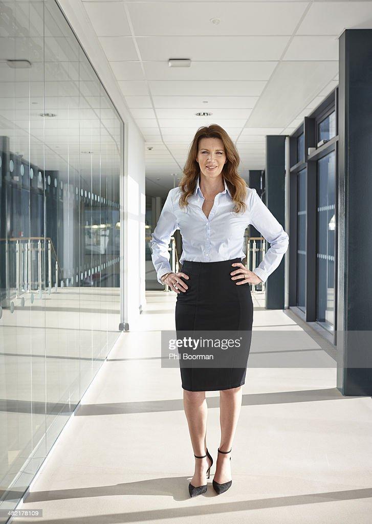 Portrait of businesswoman in corridor