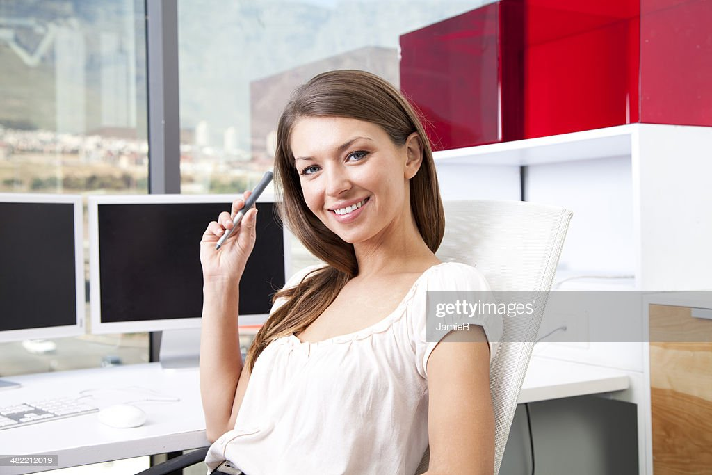 Cape Town, South Africa, Portrait of businesswoman in the office : Stock Photo
