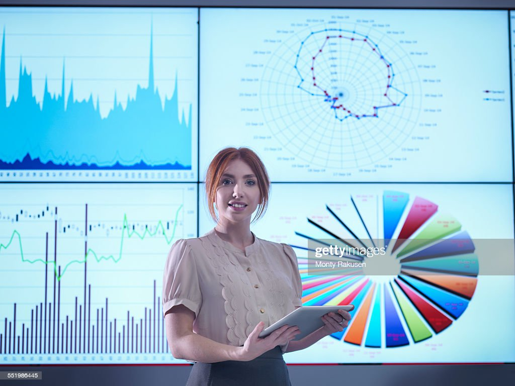 Portrait of businesswoman making presentation in front of graphs on screen