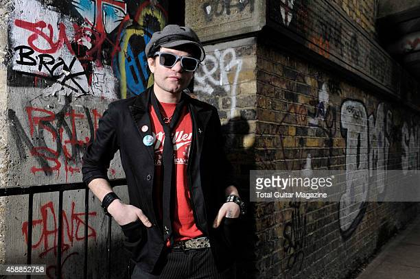 Portrait of Canadian musician Deryck Whibley vocalist and guitarist with pop punk group Sum 41 taken on February 22 2011