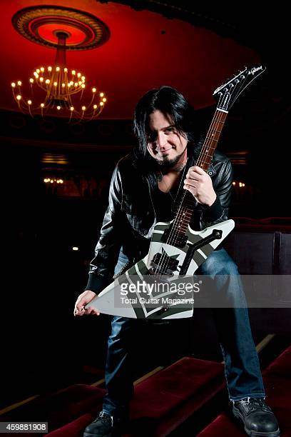 Portrait of Canadian musician Jason Hook guitarist with heavy metal group Five Finger Death Punch photographed before a live performance at The Forum...
