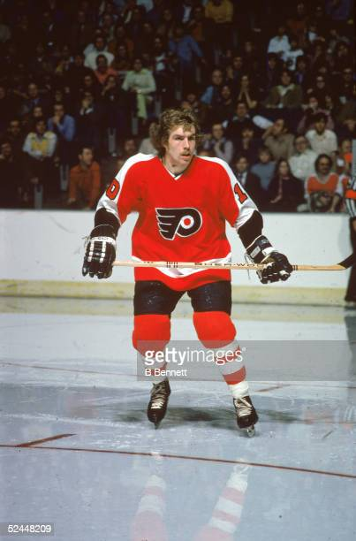Portrait of Canadian pro hockey player Bill Clement of the Phildelphia Flyers on the ice during a road game 1975