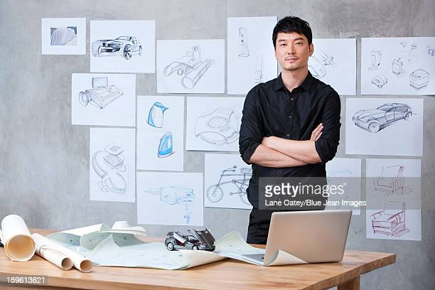 Portrait of car designer in studio