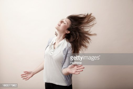 Portrait of carefree woman : Stock Photo