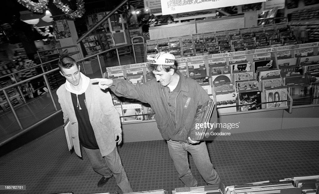 Portrait of Carter USM in HMV shop for an NME photoshoot London United Kingdom 1990