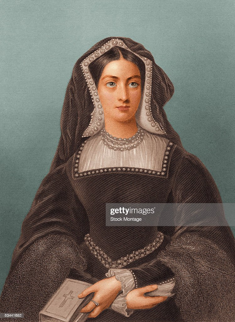 Portrait of <a gi-track='captionPersonalityLinkClicked' href=/galleries/search?phrase=Catherine+of+Aragon&family=editorial&specificpeople=216175 ng-click='$event.stopPropagation()'>Catherine of Aragon</a> (1485 - 1536), the first queen of Henry VIII of England, daughter of King Ferdinand and Queen Isabella of Spain, holding a bible, 1500s.