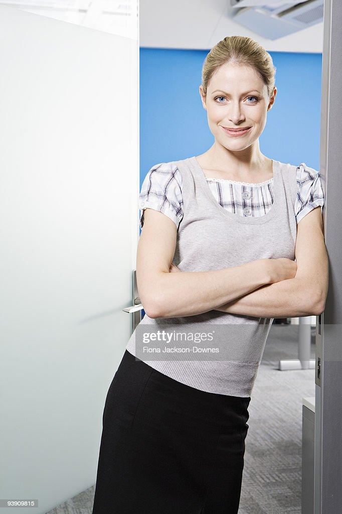 A portrait of Caucasian female smiling : Stock Photo