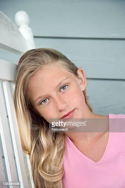 Portrait of Caucasian pre-teen girl.