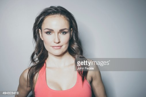 Portrait of Caucasian woman in sports-bra