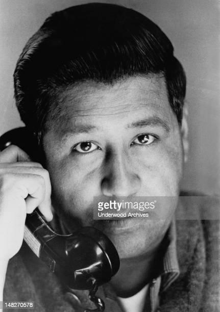 Portrait of Cesar Chavez talking on the phone California June 10 1967