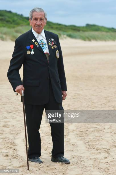 A portrait of Charles Norman Shay a Native American a Penobscot tribal elder and a veteransoldier from WWII returns to Omaha beach for the 73rd...