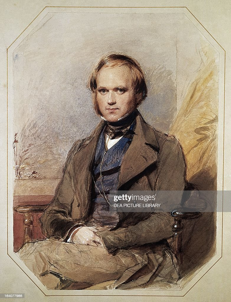 Portrait of Charles Robert Darwin British naturalist Watercolor by George Richmond 1840 Downe Down House