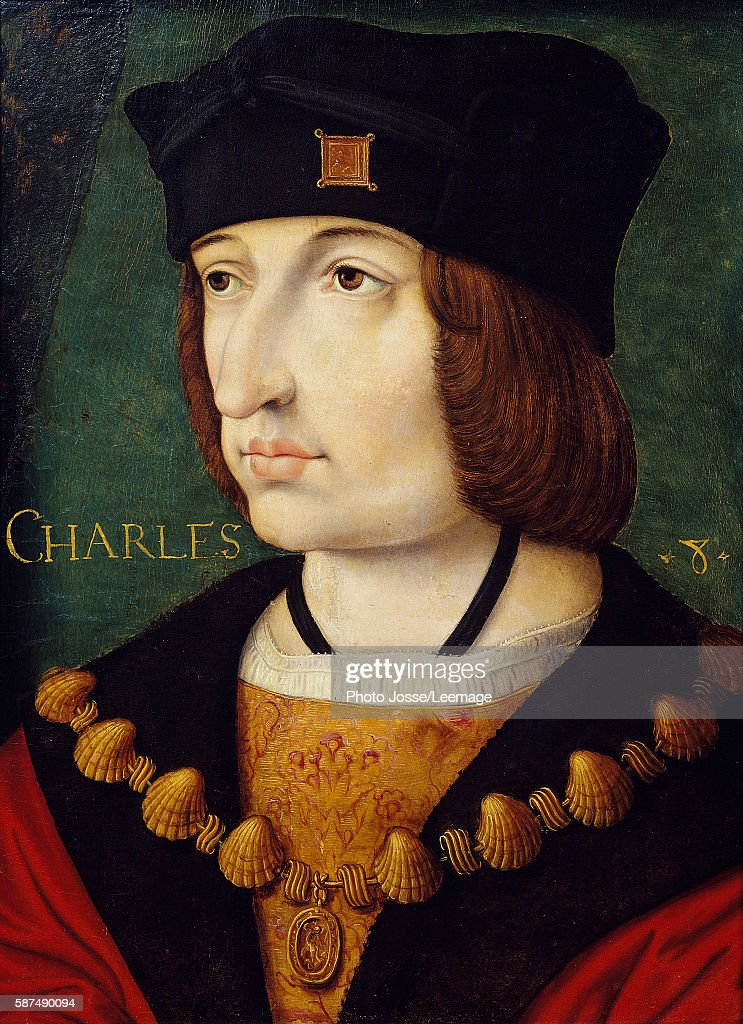 Portrait of Charles VIII son of Louis XI shown wearing collar of the Order of Saint Michael Painting of the French School 16th century from Jean...
