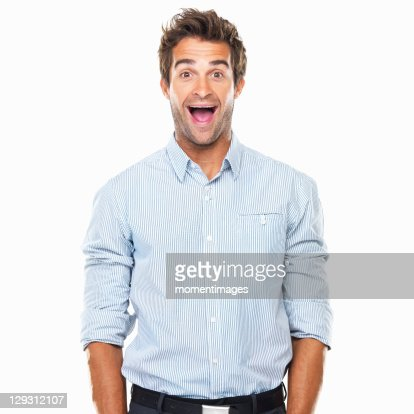 Portrait of cheerful business man with wide grin standing