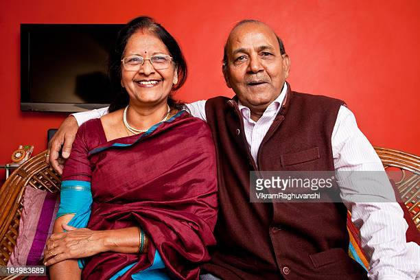 Portrait of Cheerful loving Indian Urban Senior Couple