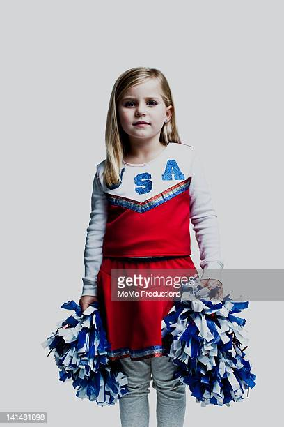 portrait of cheerleader girl - 6yrs, caucasian