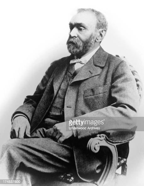 A portrait of chemist and inventor Alfred Nobel who was the inventor of dynamite circa 1893