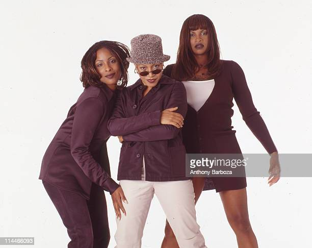Portrait of Cheryl 'Salt' James Sandra 'Pepa' Denton and Deirdre 'DJ Spinderella' Roper better known collectively as the hiphop group Salt n Pepa 1997