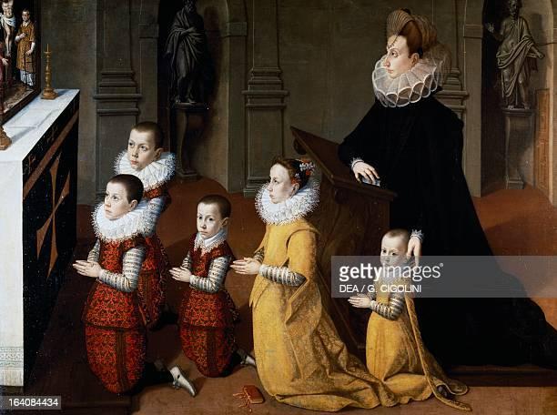 Portrait of Chiara Albini Petrozzani with their children in prayer Painting attributed to Pietro Facchetti Mantua Palazzo Ducale