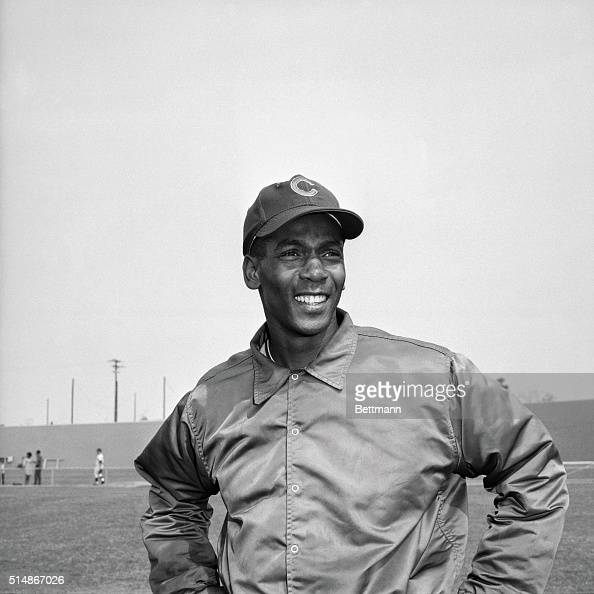 Portrait of Chicago Cubs' infielder Ernie Banks After playing for the Kansas City Monarchs in the Negro Leagues he played his entire Major League...