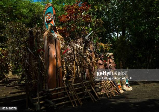 Portrait of chieftain Etul on the Rom dance area in front of a giant slit drum Ambrym island Fanla Vanuatu on August 29 2007 in Fanla Vanuatu