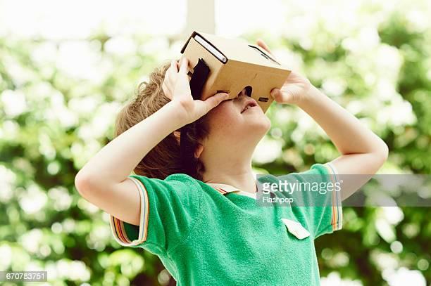 Portrait of child wearing  virtual reality headset