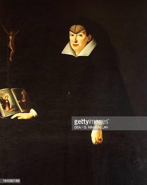 Portrait of Christine of Lorraine wife of Grand Duke Ferdinando I de 'Medici Painting by Justus Suttermans olio su tela 201x117cm Florence Palazzo...