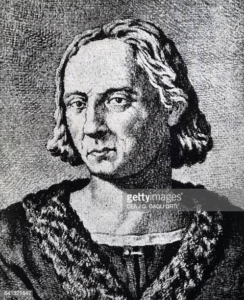 Portrait of Christopher Columbus engraving 16th century