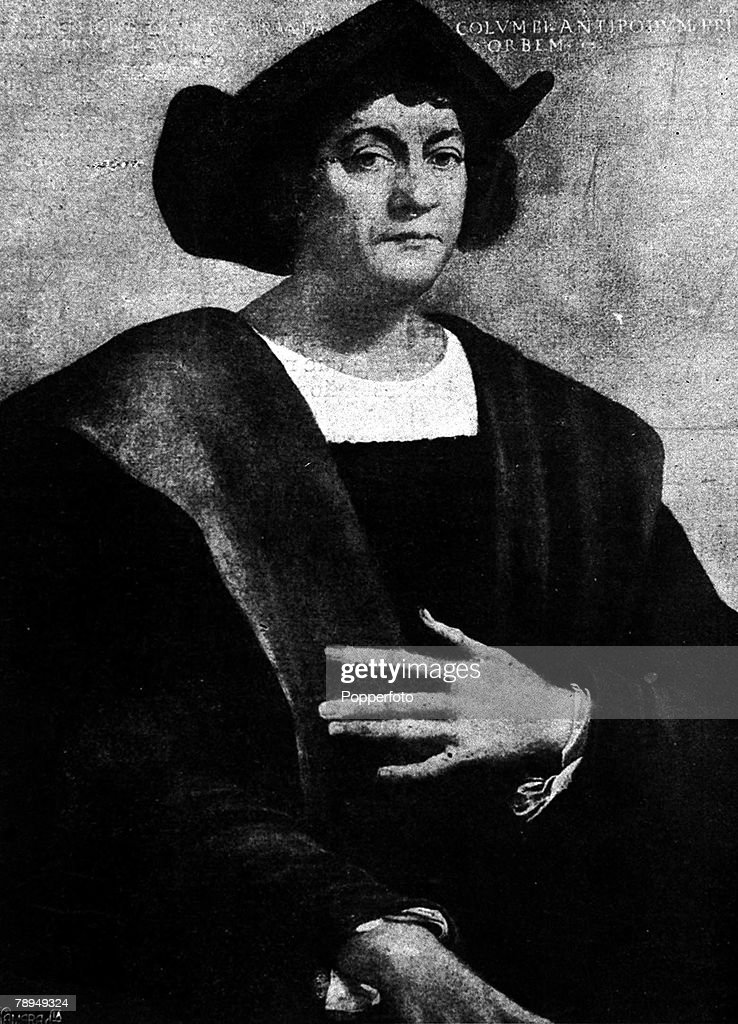 A portrait of Christopher Columbus (1451-1506), the Italian navigator and explorer in the service of Spain, who discovered the New World in 1492