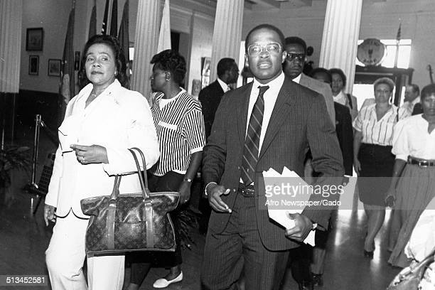 Portrait of Civil Rights leader Coretta Scott King and former Mayor of Baltimore City and President of the University of Baltimore Kurt Schmoke...