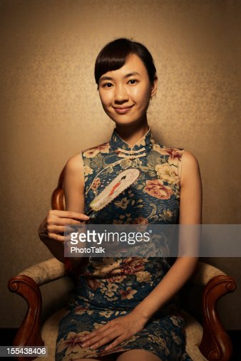 Portrait of Classic Chinese Woman with Cheongsam
