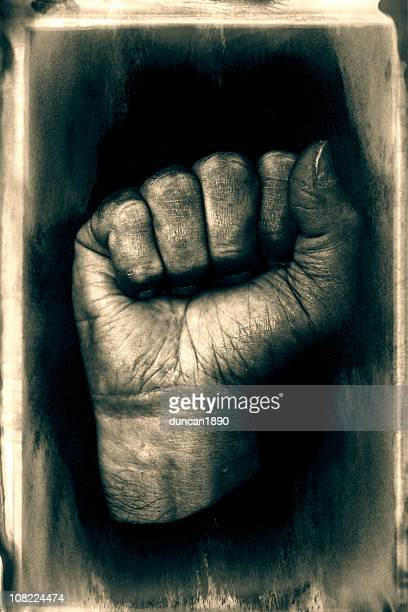 Portrait of Clenched Human Fist, Black and White